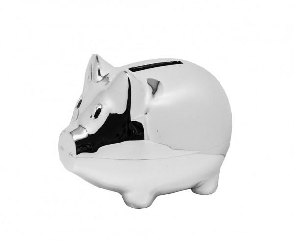 Sparschwein Spardose Sparbüchse Piggy, edel versilbert, anlaufgeschützt, Höhe 8 cm