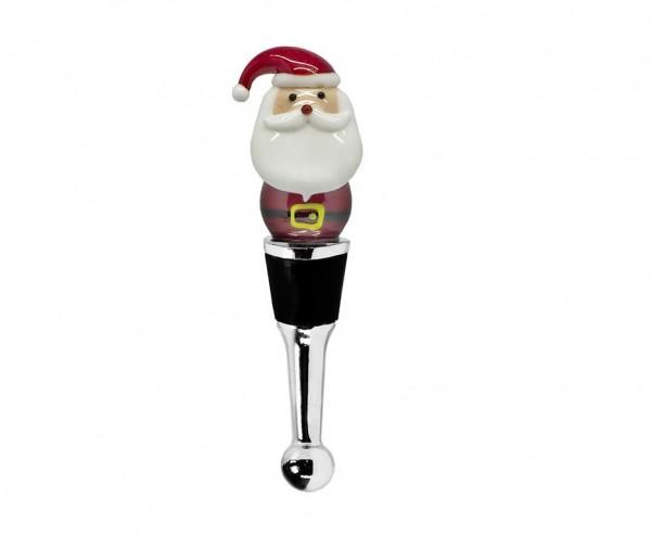Flaschenverschluss Santa für Champagner, Wein und Sekt, Höhe 11 cm, Muranoglas-Art, Handarbeit