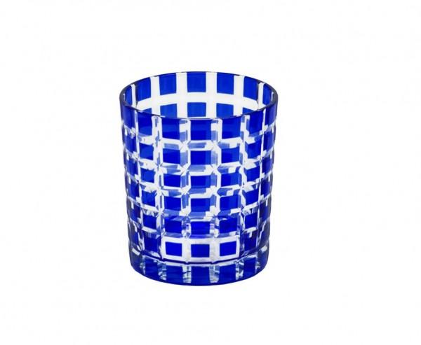 4er Set Kristallgläser Marco, blau, handgeschliffenes Glas , Höhe 9 cm, Füllmenge 0,25 Liter
