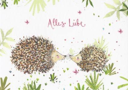 Alles Liebe (küssende Igel) Kunstkarte