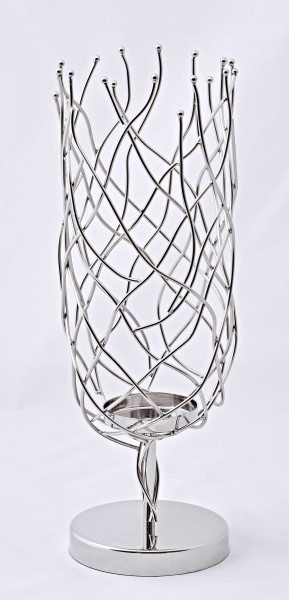Windlicht Kerzenhalter Stan, Edelstahl glänzend vernickelt, für große Kerzen, Höhe 41 cm