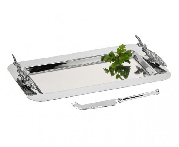 Servierplatte Stör mit Messer