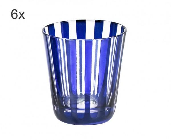 6er Set Kristallgläser Ela, blau, handgeschliffenes Glas , Höhe 10 cm, Füllmenge 0,23 Liter