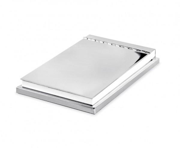 Halter Plano für Notizblock 11 x 15 cm, edel versilbert, anlaufgeschützt