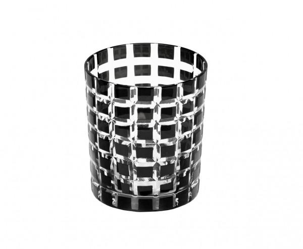 Kristallglas / Teelichthalter Marco, schwarz, handgeschliffenes Glas , H 9 cm, Füllmenge 0,25 Liter