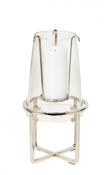 Windlicht Moll, Edelstahl vernickelt, mit Glas, Höhe 30 cm, Ø 15 cm