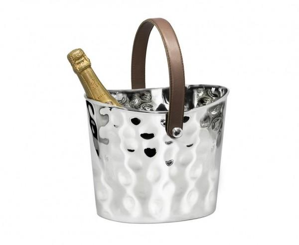 Eiseimer Weinkühler Gilbert gehämmert, mit braunem Ledergriff, Edelstahl glänzend vernickelt,H 23 cm