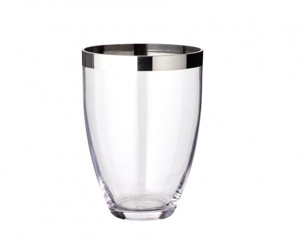 Vase Charlotte, mundgeblasenes Kristallglas mit Platinrand, Höhe 24 cm, Ø 19 cm