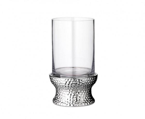 Windlicht Kerzenglas Estepona, Glas und vernickelt, Höhe 30 cm