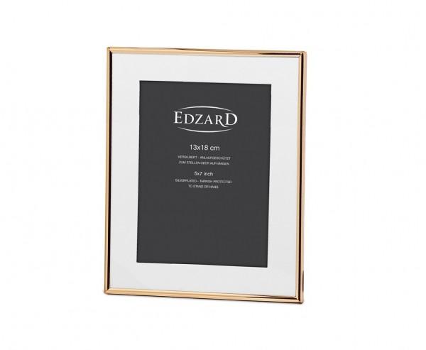Fotorahmen Genua für Foto 13 x 18 cm, mit Passepartout, Metall, Gold-Optik, mit 2 Aufhängern