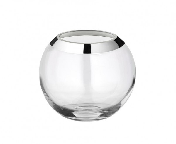 Vase Kugelvase Mirinde, mundgeblasenes Kristallglas mit Platinrand, H 18 cm, ø 20 cm,Öffnung ø 10