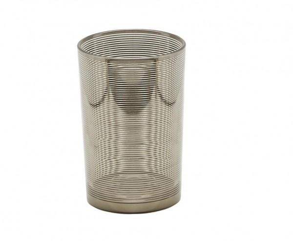 Teelichtglas Teelichthalter Teelicht Hauke, Glas, silber, Höhe 18 cm