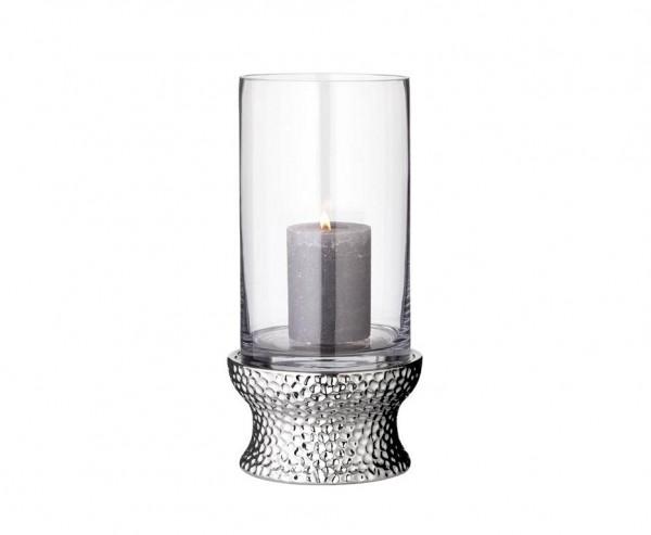 Windlicht Kerzenglas Estepona, Glas und vernickelt, Höhe 34 cm
