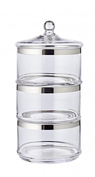 Bonboniere Glasdosen Vigo, mit Deckel, mundgeblasenes Kristallglas mit Platinrand, H 40 cm, ø 19 cm