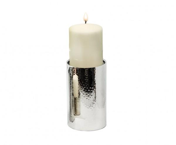 Kerzenständer York für Kerze Ø 10 cm, gehämmert, Edelstahl glänzend vernickelt, Höhe 20 cm
