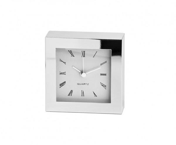 Uhr Tischuhr Standuhr Bates, edel versilbert, anlaufgeschützt, 10 x 10 cm