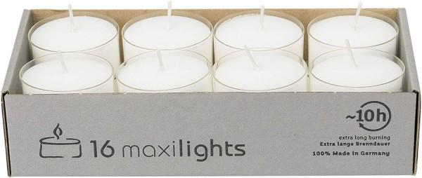16 Stück WENZEL Maxilights Maxi-Teelichter, weiß, Alumniumhülle, Ø 58 mm, ohne Duft