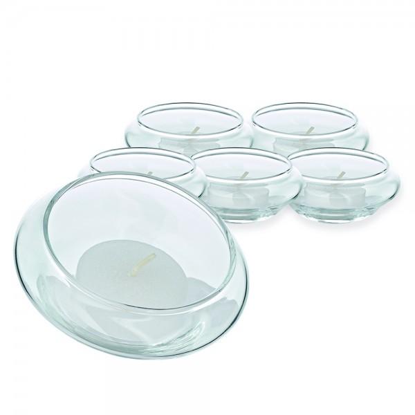 Schwimm-Teelichthalter Iris 6er Satz H 4 cm