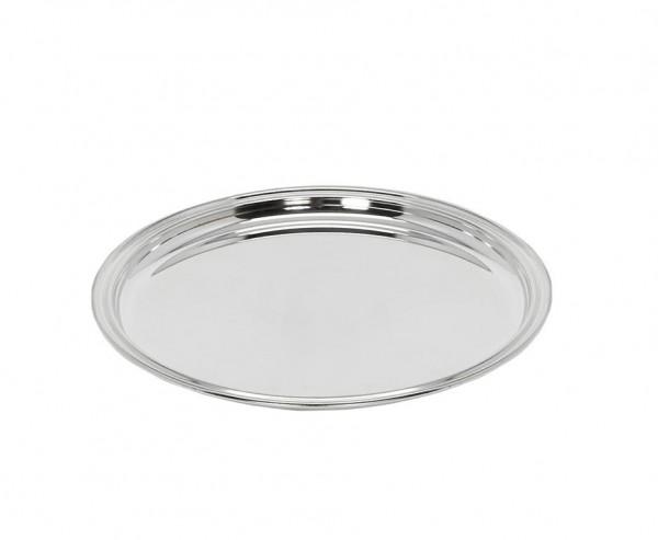 Tablett Serviertablett Pipe, rund, edel versilbert, Ø 22 cm