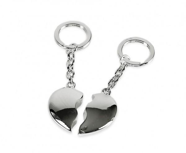 SALE Schlüsselanhänger Gebrochenes Herz, 2-teilig, edel versilbert, anlaufgeschützt, Länge 10 cm