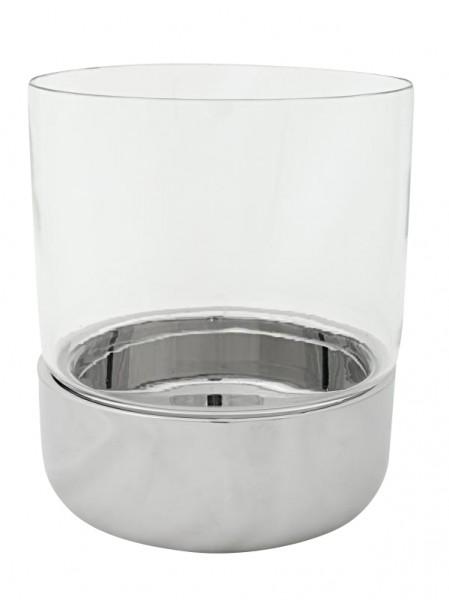 Windlicht Kerzenglas Riff, Edelstahl hochglanzpoliert, Höhe 17 cm, Ø 16 cm