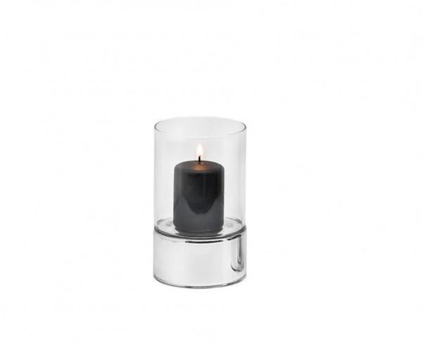 Windlicht Granada, Keramik silberfarben und Glas, Ø 9 cm, Höhe 15 cm
