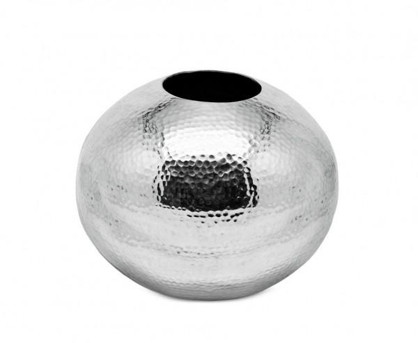 SALE Vase Dekovase Arvada, Aluminium vernickelt, gehämmert, Höhe 30 cm, Ø 30 cm