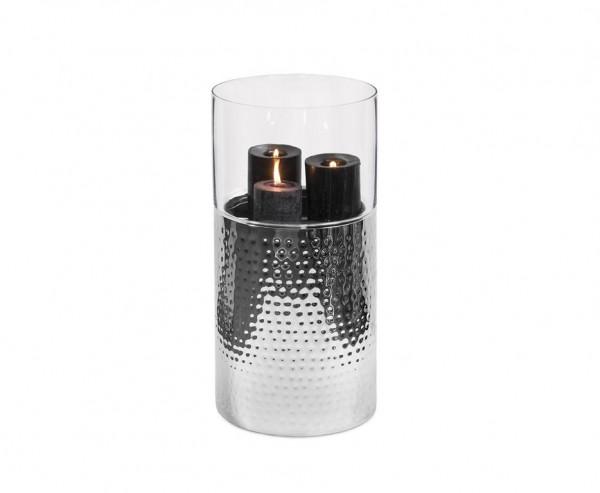 Windlicht Arnold, Glas, Edelstahl gehämmert hochglanzpoliert, Höhe 64 cm