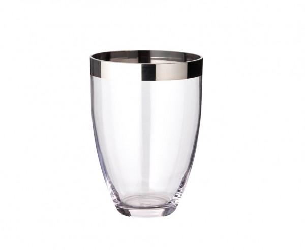 Vase Charlotte, mundgeblasenes Kristallglas mit Platinrand, Höhe 20 cm, Ø 15 cm