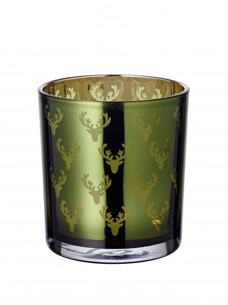 Windlicht Dirk grün gold H 8 cm