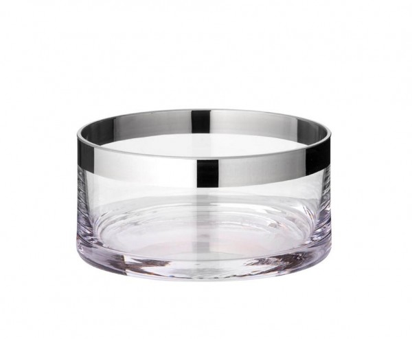 Schale Dekoschale Grit, mundgeblasenes Kristallglas mit Platinrand, Ø 15 cm