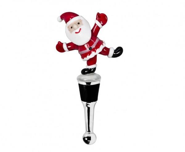 Flaschenverschluss Weihnachtsmann für Champagner, Wein und Sekt, Höhe 13 cm, Muranoglas-Art, Handarb