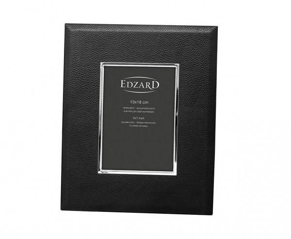 Fotorahmen Geno für Foto 13 x 18 cm, Lederoptik schwarz, edel versilbert, anlaufges., 2 Aufhänger