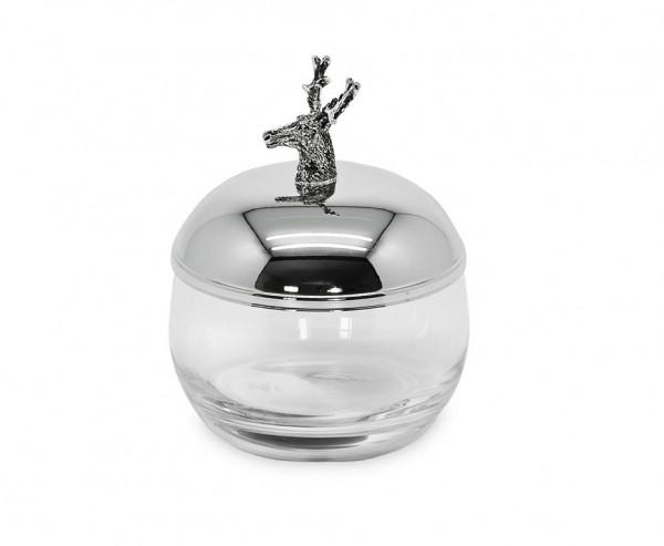 Dose Vorratsglas Hirsch, Deckel edel versilbert, anlaufgeschützt, Höhe 12 cm, Ø 9 cm