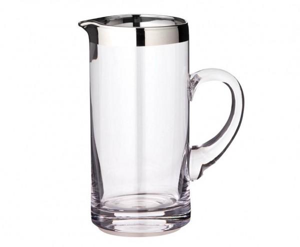 Krug Karaffe Robert, mundgeblasenes Kristallglas mit Platinrand, Höhe 20 cm, Füllmenge 1,0 Liter