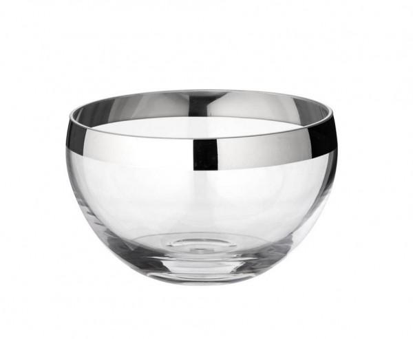Schale Dekoschale Ella, mundgeblasenes Kristallglas mit Platinrand, Ø 14 cm