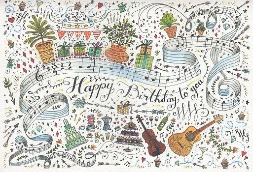 Happy Birthday (Musiknoten) Grußkarte