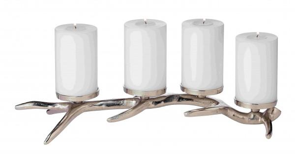 Kerzenleuchter Kingston, Aluminium vernickelt, silberfarben, Höhe 13 cm