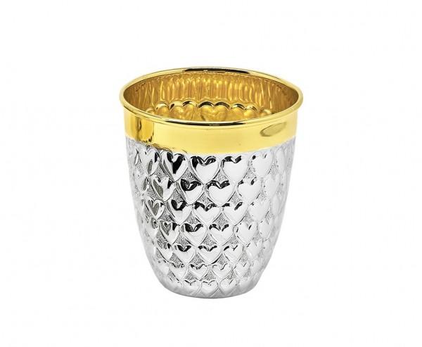 Becher Herz, Echtsilber 925/000, innenvergoldet, H 8 cm, Füllmenge 0,2 Liter, Silbergewicht 108 g