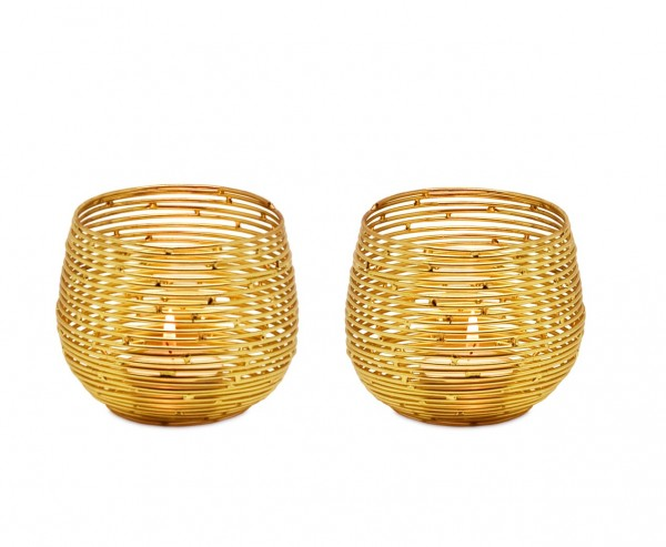 2er Set Teelichtleuchter Teelichthalter Roseville, Edelstahl, Gold-Optik, Höhe 8 cm