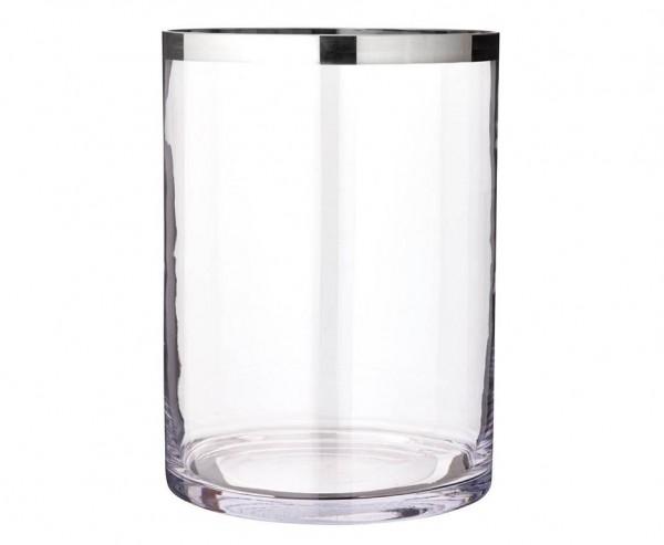 Windlicht Molly, mundgeblasenes Kristallglas mit Platinrand, Höhe 39 cm, Ø 29 cm