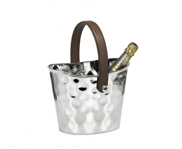 Eiseimer Weinkühler Gilbert gehämmert, mit braunem Ledergriff, Edelstahl glänzend vernickelt,H 17 cm