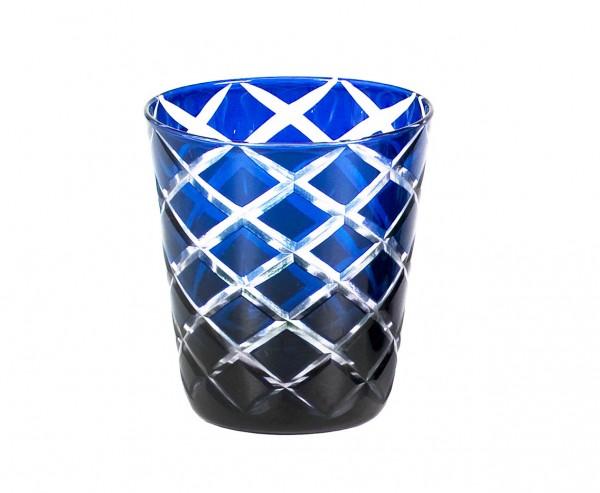 Kristallglas / Teelichthalter Dio, blau, handgeschliffenes Glas , Höhe 10 cm, Füllmenge 0,23 Liter
