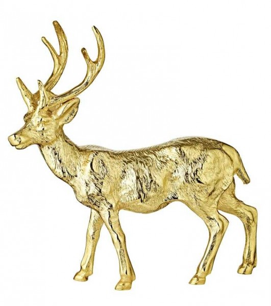 Deko Figur Rentier Reh Hirsch Josse, Aluminium, Goldoptik, Höhe 30 cm
