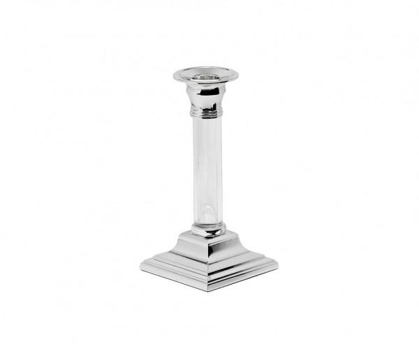 Kerzenleuchter Vanessa, edel versilbert, anlaufgeschützt, Schaft aus Acrylglas, Höhe 15 cm
