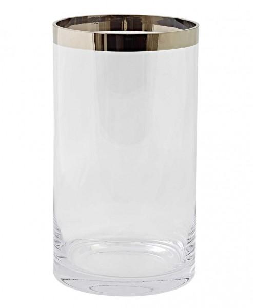 Windlicht Molly, mundgeblasenes Kristallglas mit Platinrand, Höhe 30 cm, Ø 17 cm