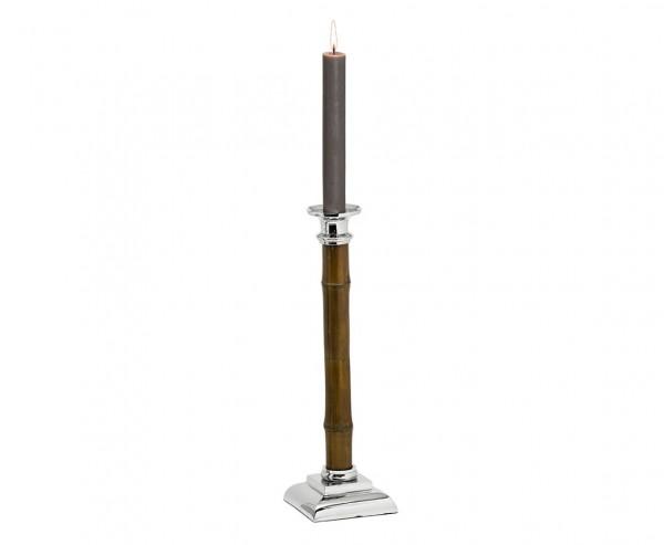 Kerzenleuchter Kerzenständer Holm mit Bambus-Schaft, Edelstahl glänzend vernickelt, Höhe 36 cm
