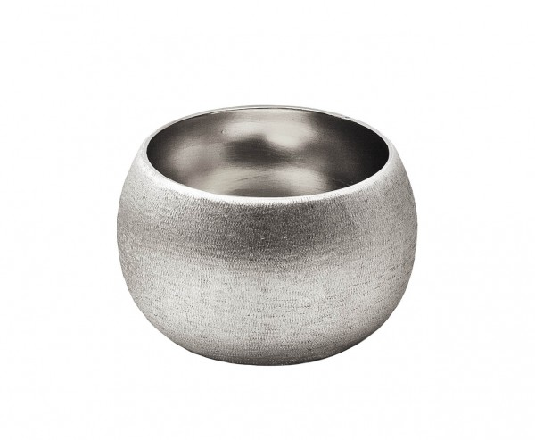 Schale Dekoschale Longley, Aluminium vernickelt, Ø 11 cm, Höhe 7 cm