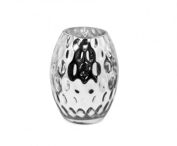 Vase Merano, Glas silbern beschichtet, Höhe 20 cm, Ø 15 cm, Öffnung Ø 8 cm