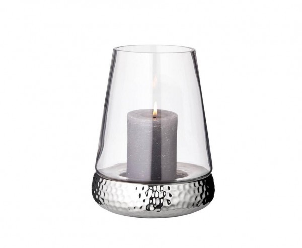 Windlicht Kerzenglas Bora, Hammerschlag Optik, Glas und Keramik, Höhe 24 cm
